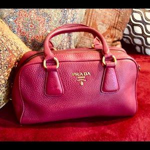 Authentic Prada Bowler Leather Bag. Beautiful Pink